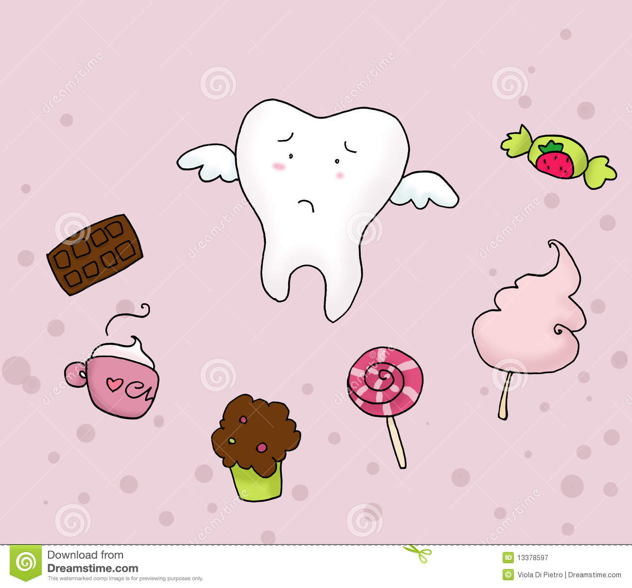 Sad Tooth And Sweets Royalty Free Stock Photography - Image: 13378597