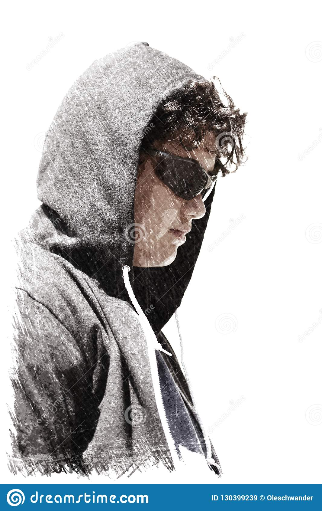 Sad troubled school boy teenager wearing a hoodie - charcoal drawing impression