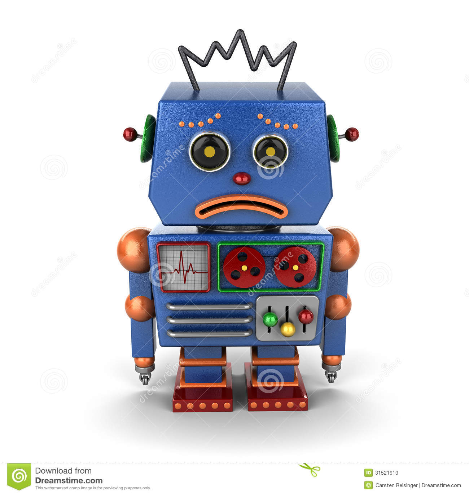 Sad vintage robot stock illustration. Illustration of ...