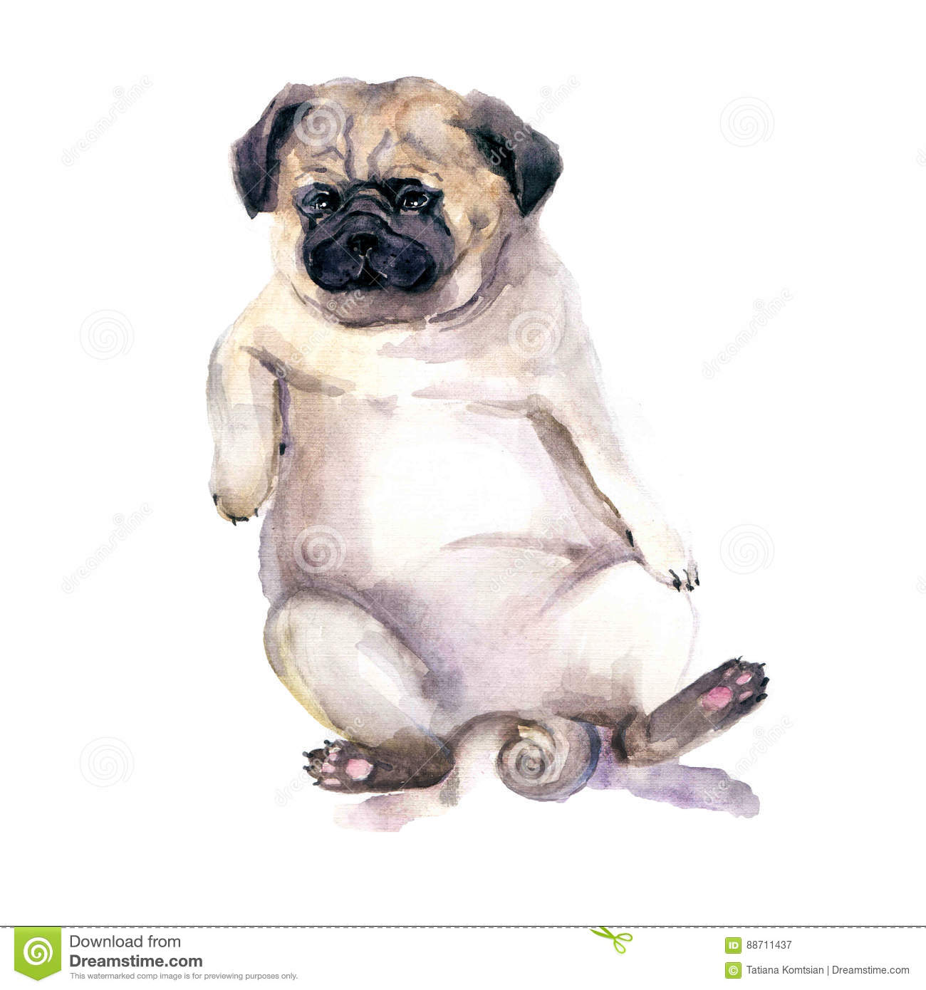 Sad Watercolor Dog Pug Dog Illustration Template For Gift - Dog gift certificate template free
