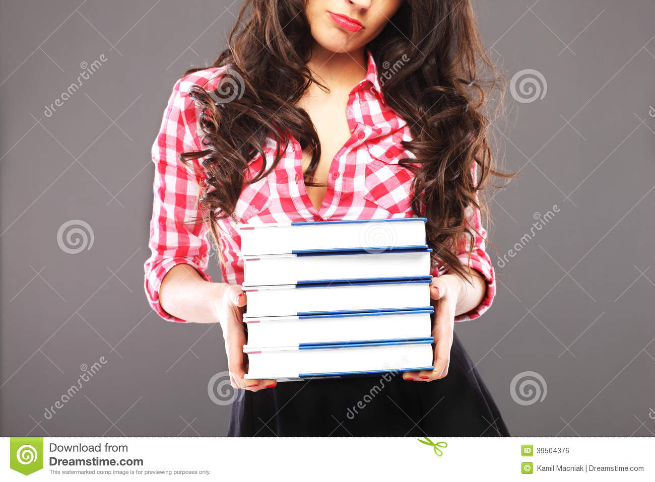 Sad woman with books