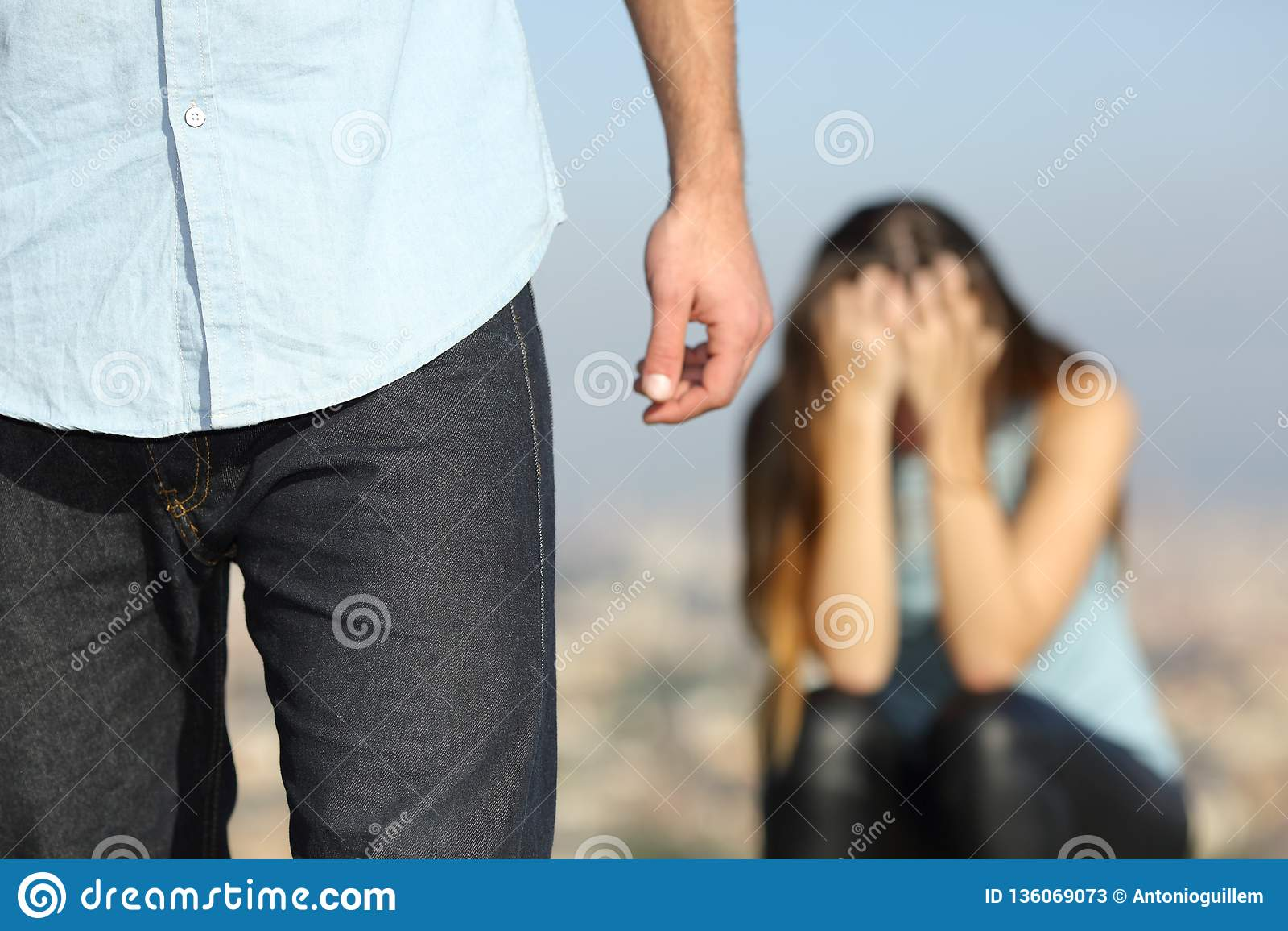 Sad woman complaining outdoors after break up