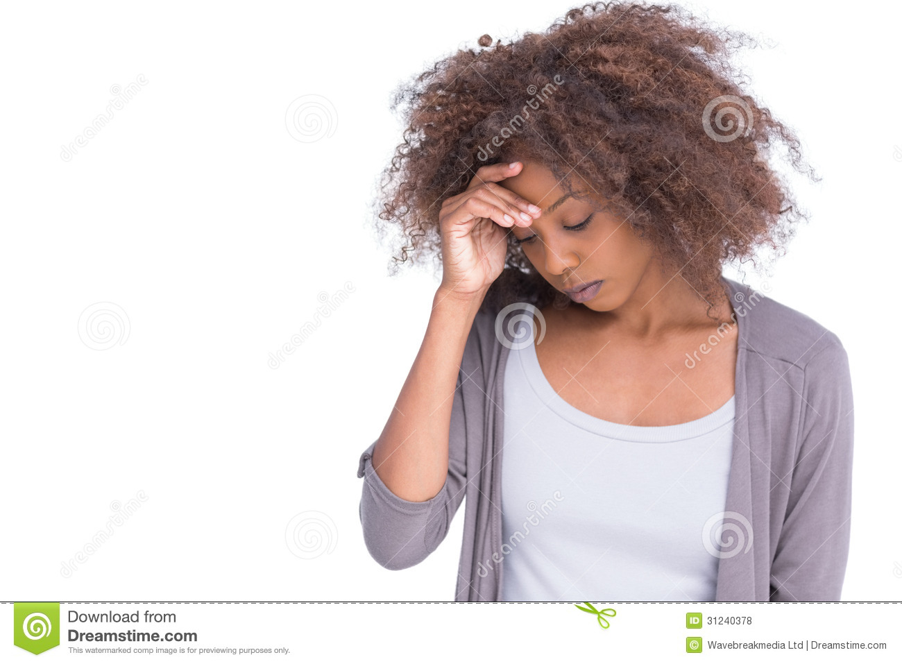 Sad Woman Holding Her Forehead With Her Hand Royalty Free ...