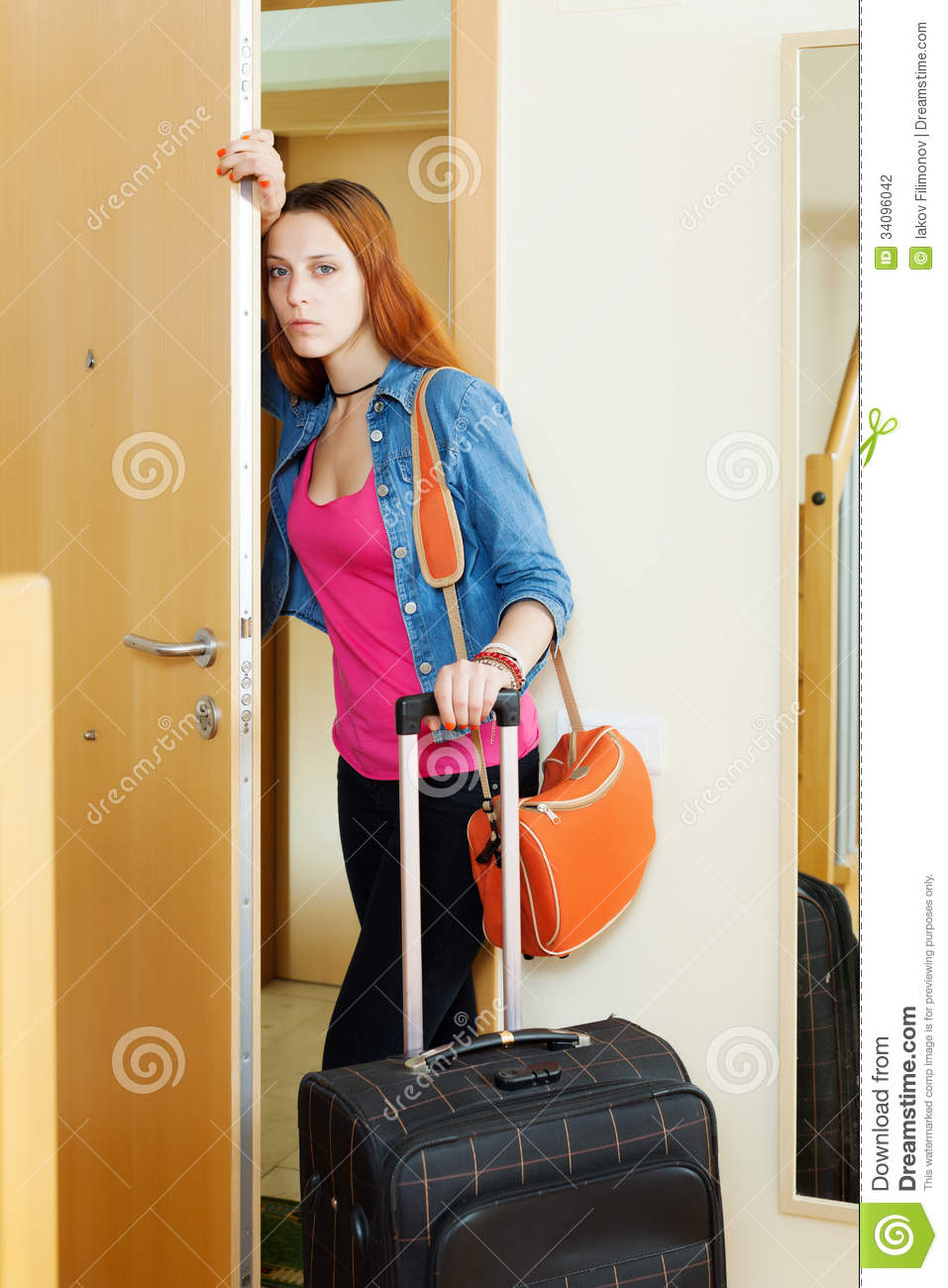 Sad Woman Leaving Home Stock Photography - Image: 34096042