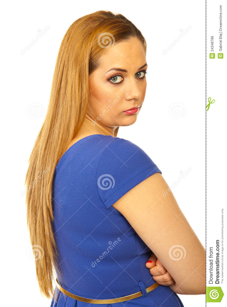 Sad Woman Looking Over Shoulder Royalty Free Stock Image ...