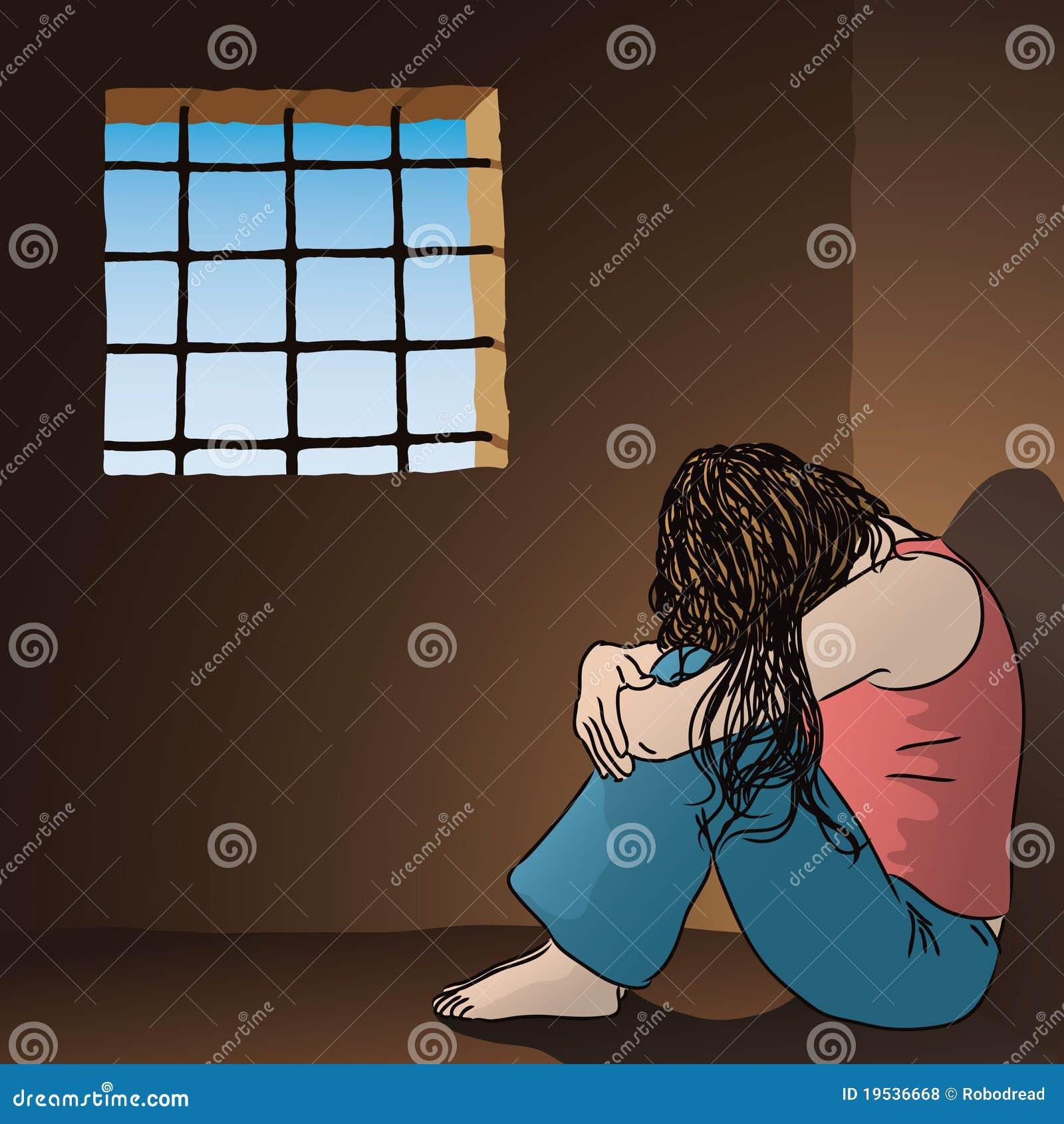 Sad woman in prison stock vector. Image of prison, dark ...