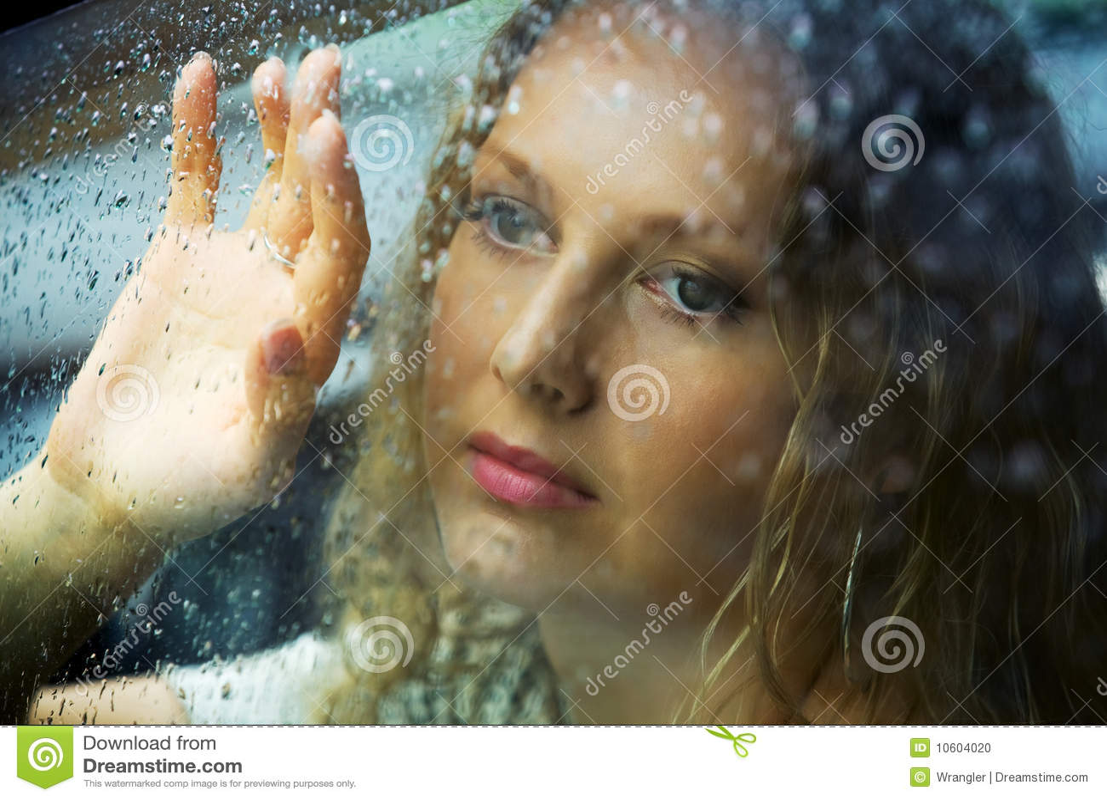 Sad woman and a rain stock photo. Image of hand, beauty ...