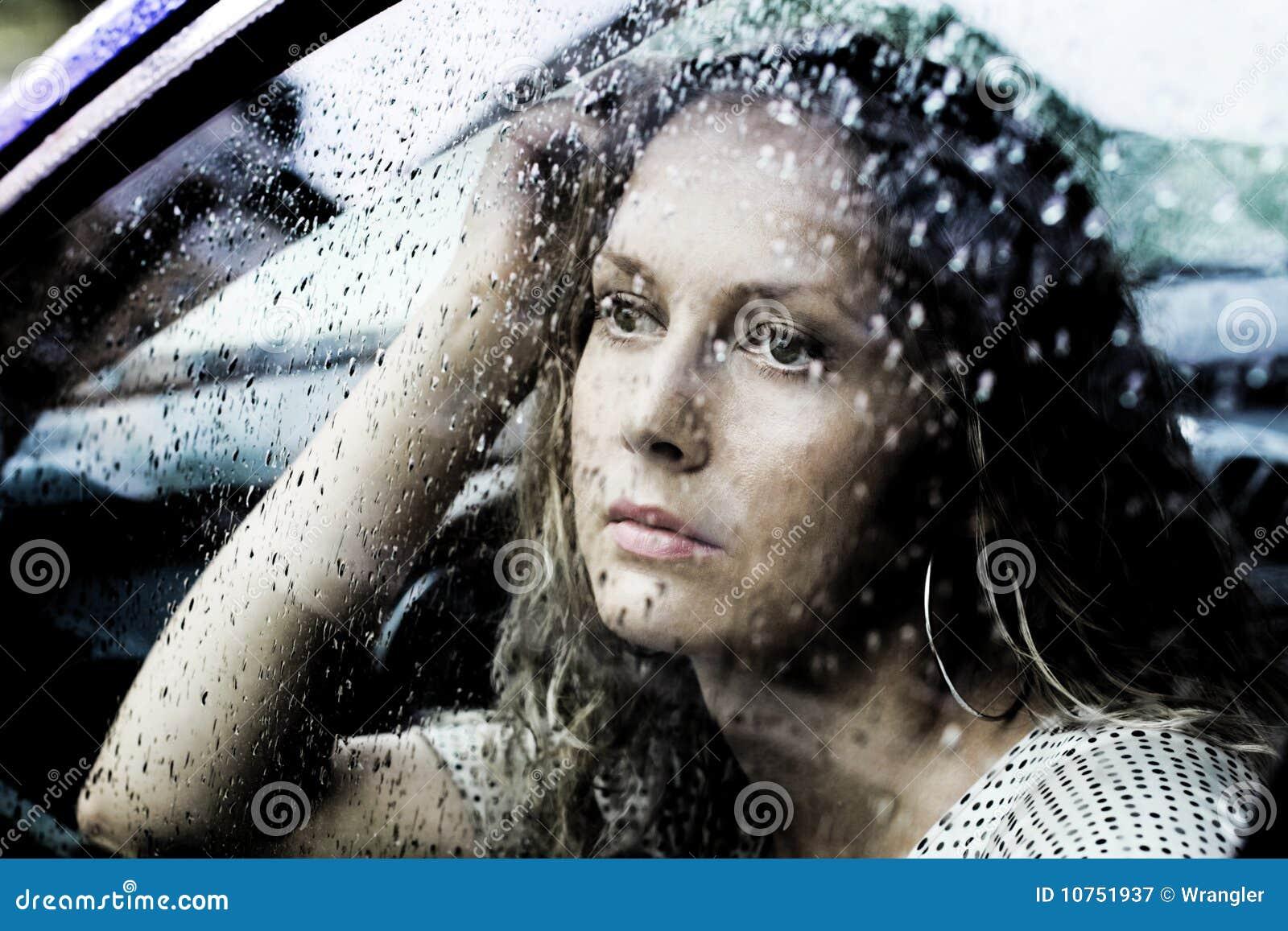 Sad Woman And A Rain Royalty Free Stock Photography ...