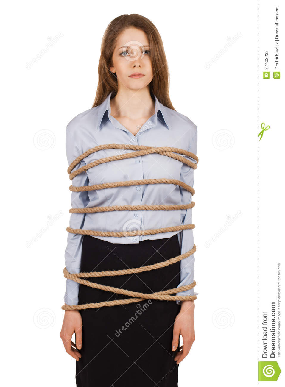 Sad Woman Tied Strong Rope Young Business Up