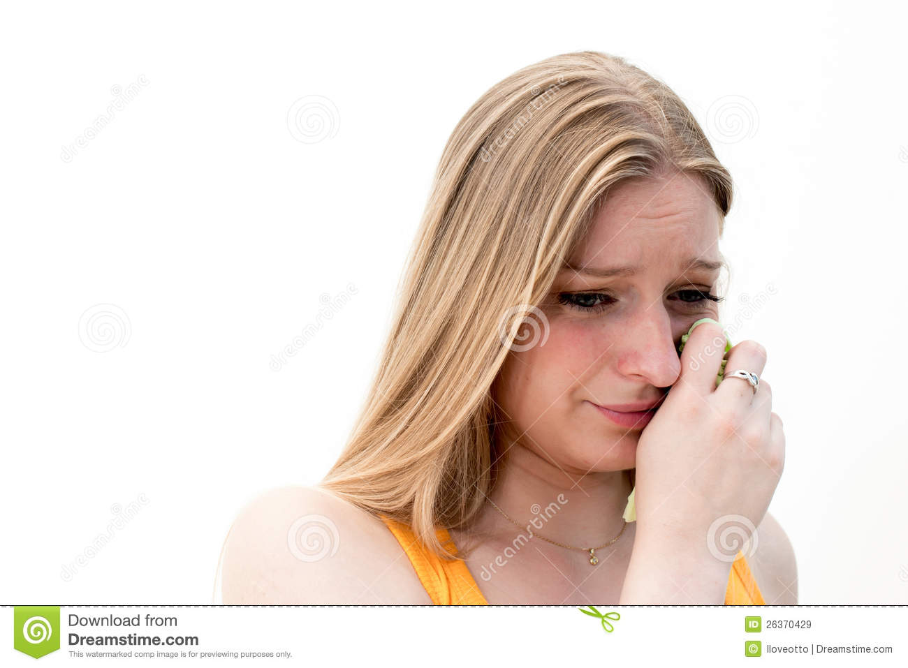 Sad woman with tissues