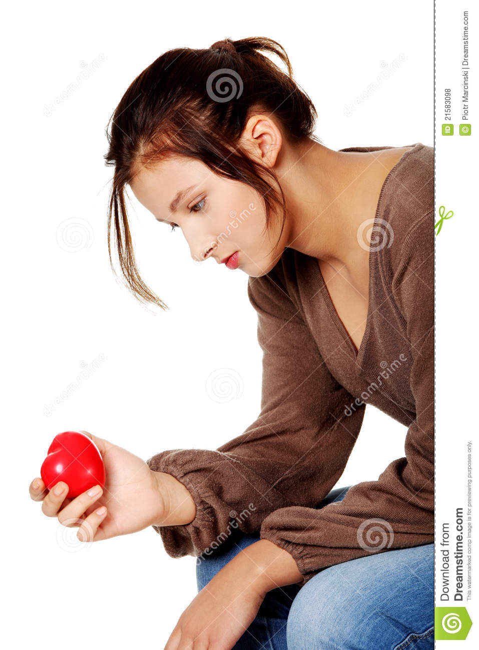 Sad Women Holding Heart In Her Hand. Stock Photo - Image of pressure ... 2b5ab8657