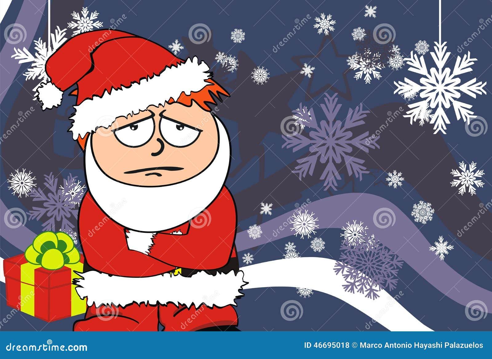 Sad Xmas Santa Kid Cartoon Expression Postal Stock Vector