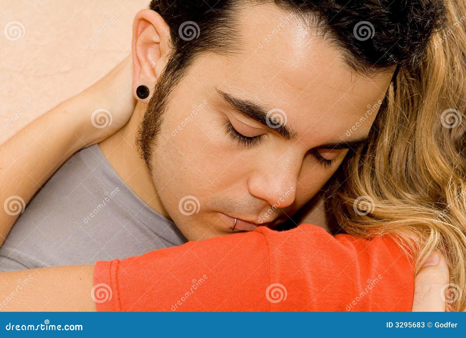 Sad young couple, man