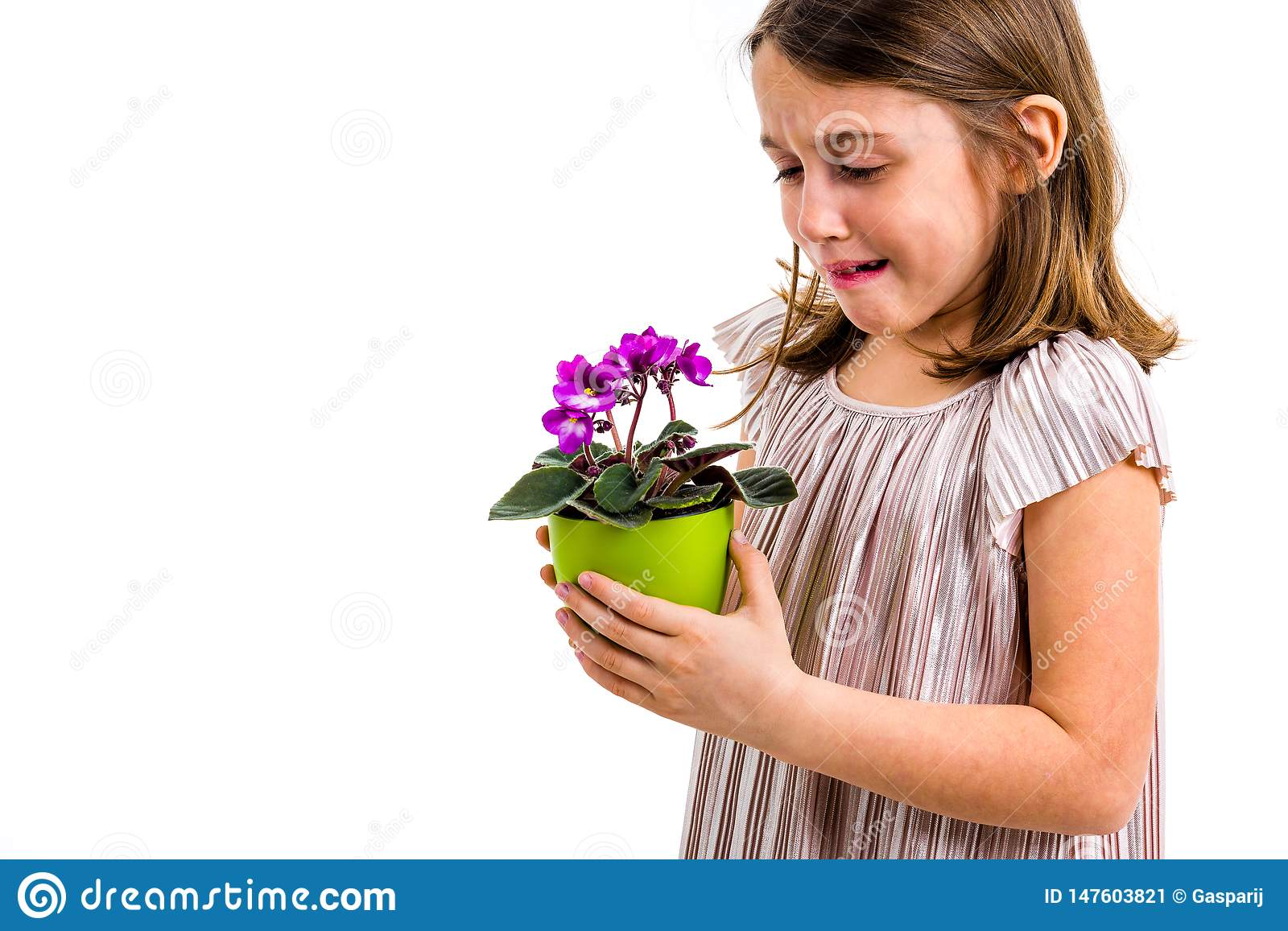 Sad Young Little Girl Holding Flower Pot Mourning Family