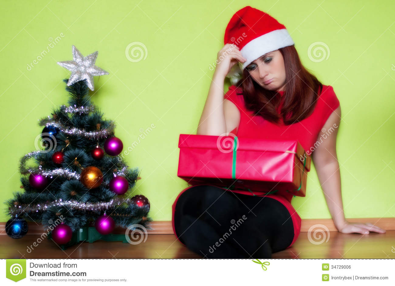 Sad young woman in christmas time royalty free stock image image