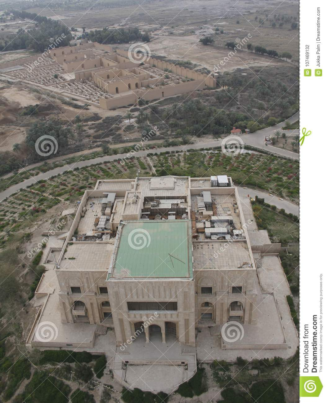Ancient babylon in iraq from air. Stock photo image of building.