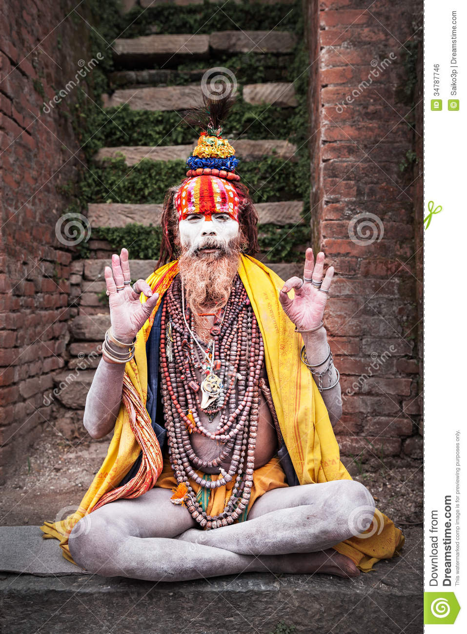 Arresting Sadhus Portrait Photography Religious Photography: Sadhu At Pashupatinath Temple Editorial Photo
