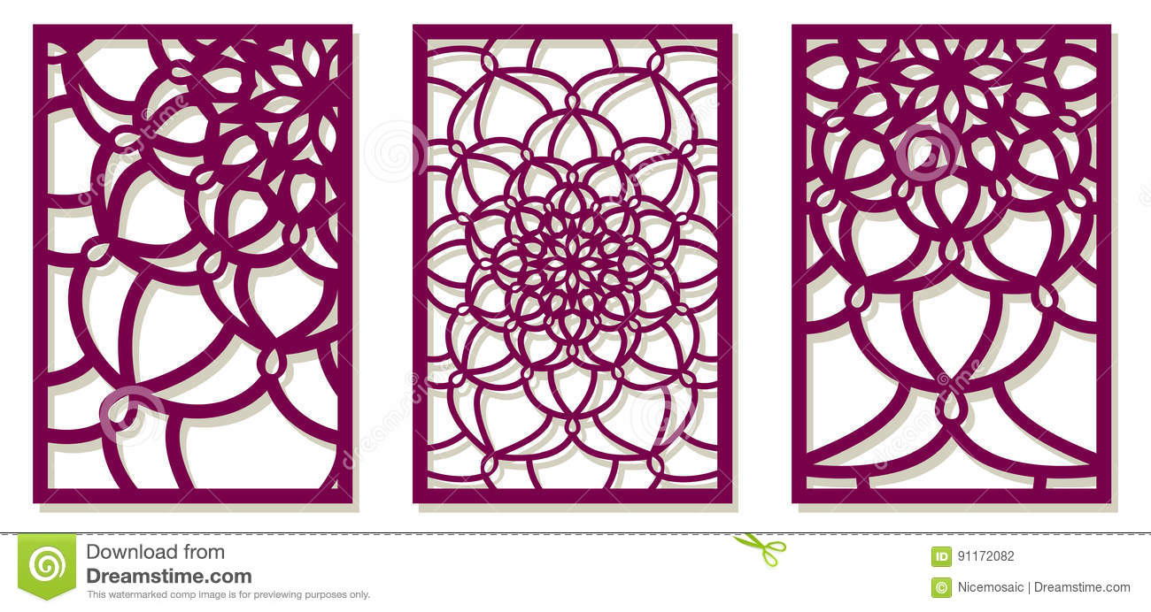 Saet Of Vector Laser Cut Panels Abstract Pattern Template