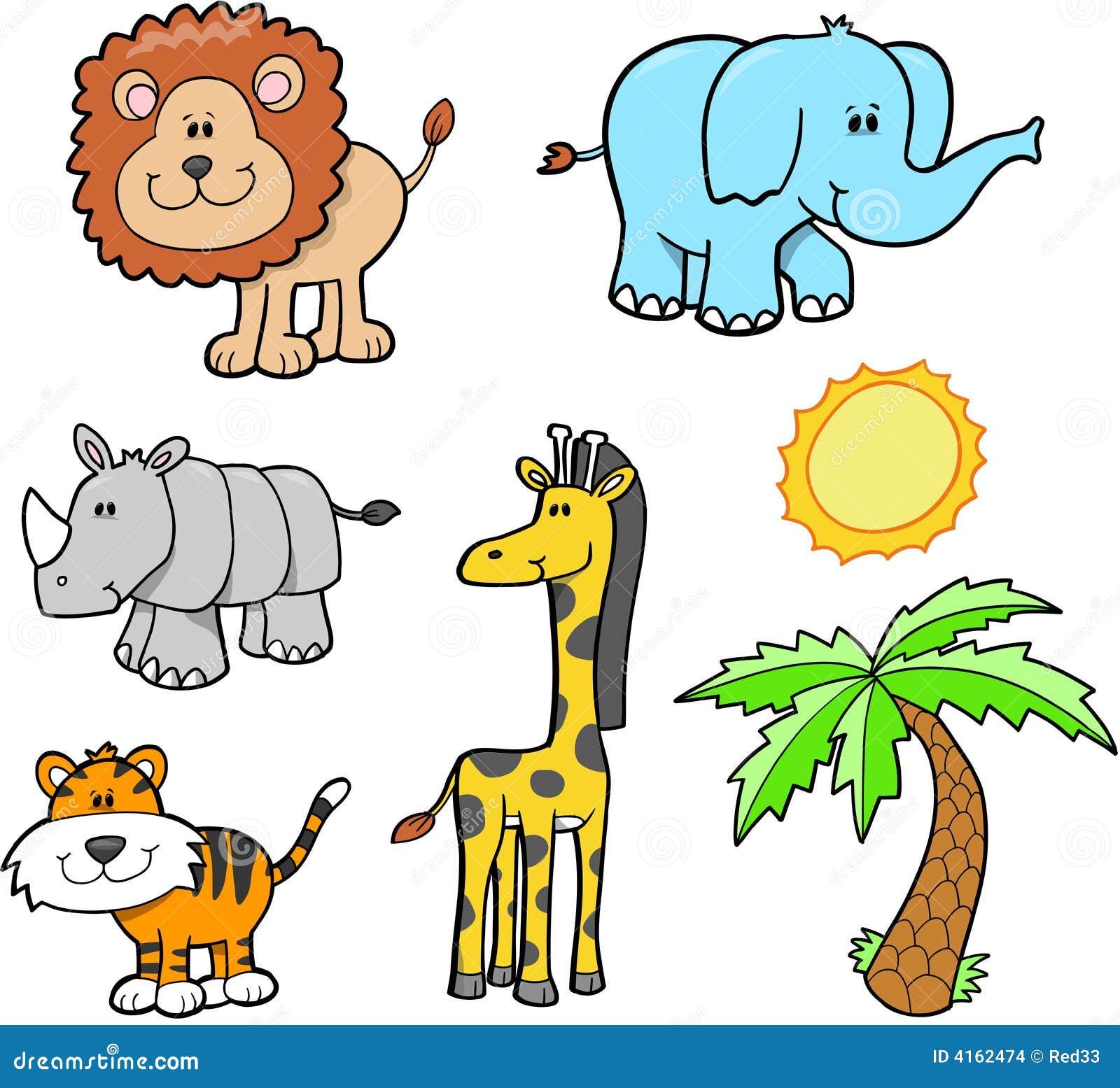 Safari Animals Clip Art Safari animal set stock images