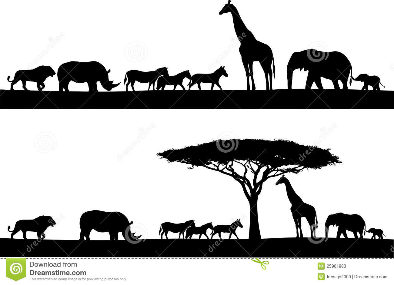 Stock Photo: Safari animal silhouette. Image:
