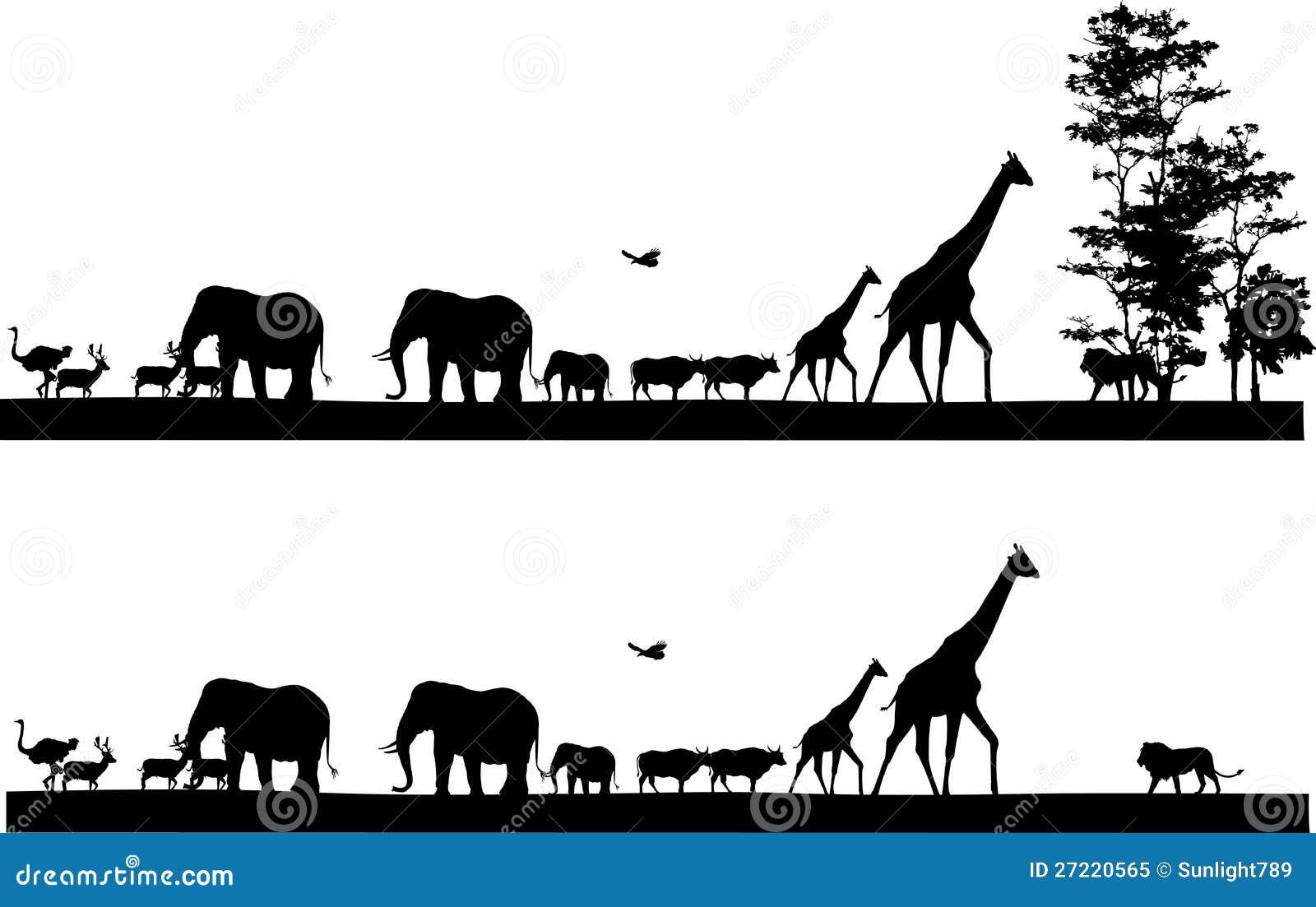 Safari animal silhouette stock illustration. Illustration ...