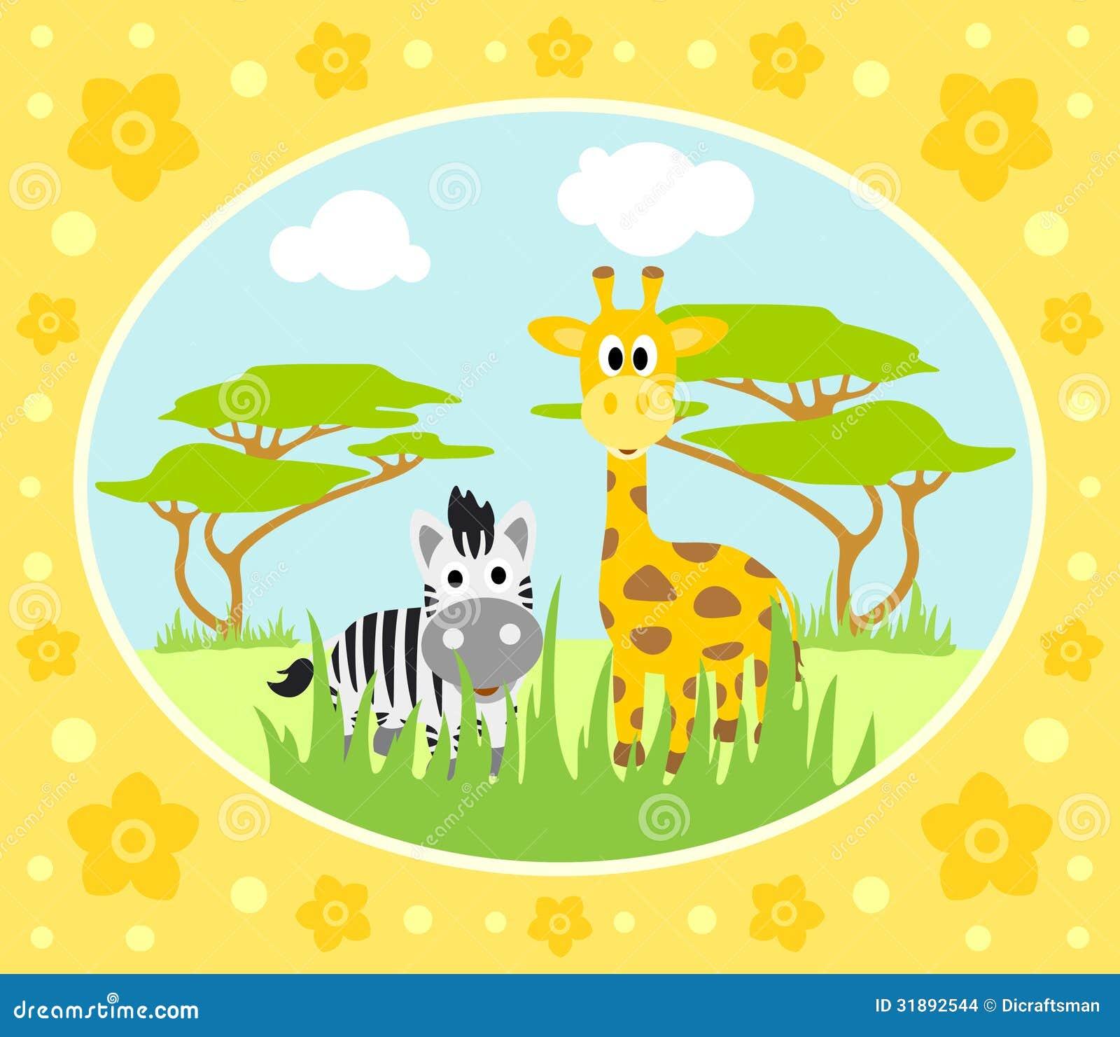 Safari Background With Zebra And Giraffe Stock Images ...