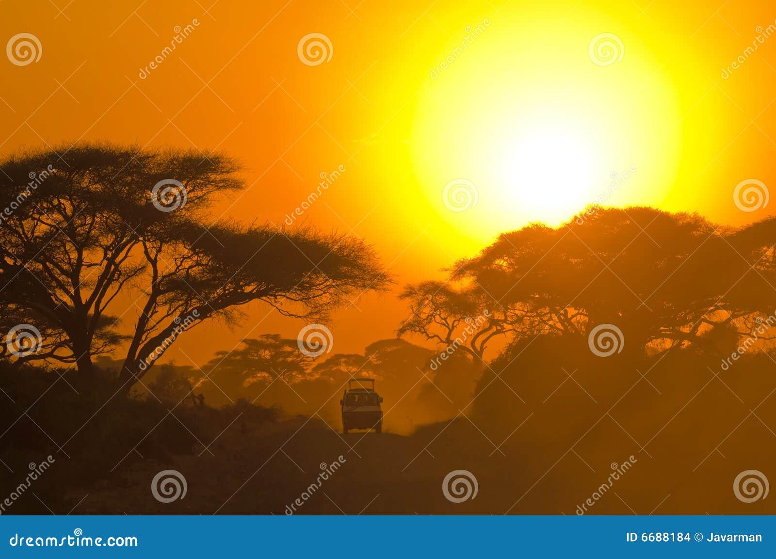 Safari dżipa jeżdżenie przez sawanny