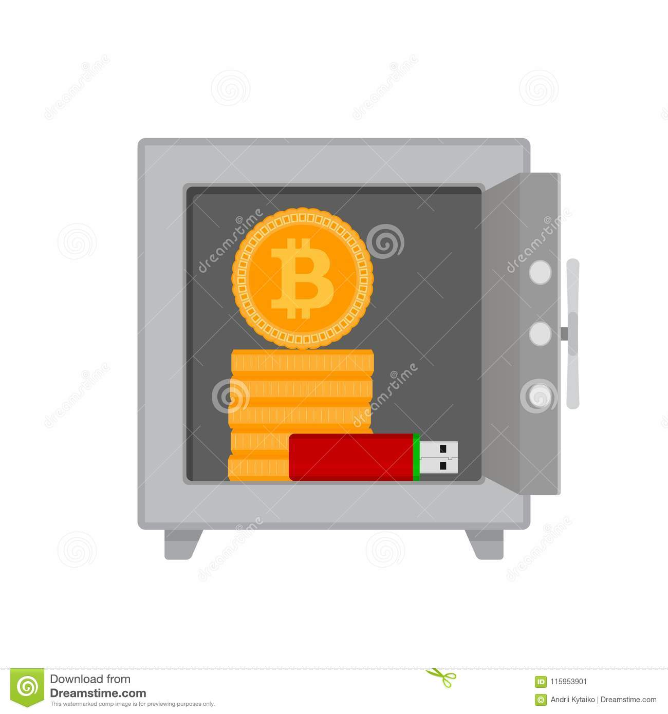 Safe With Bitcoin Coins And Flash Drives Stock Vector - Illustration