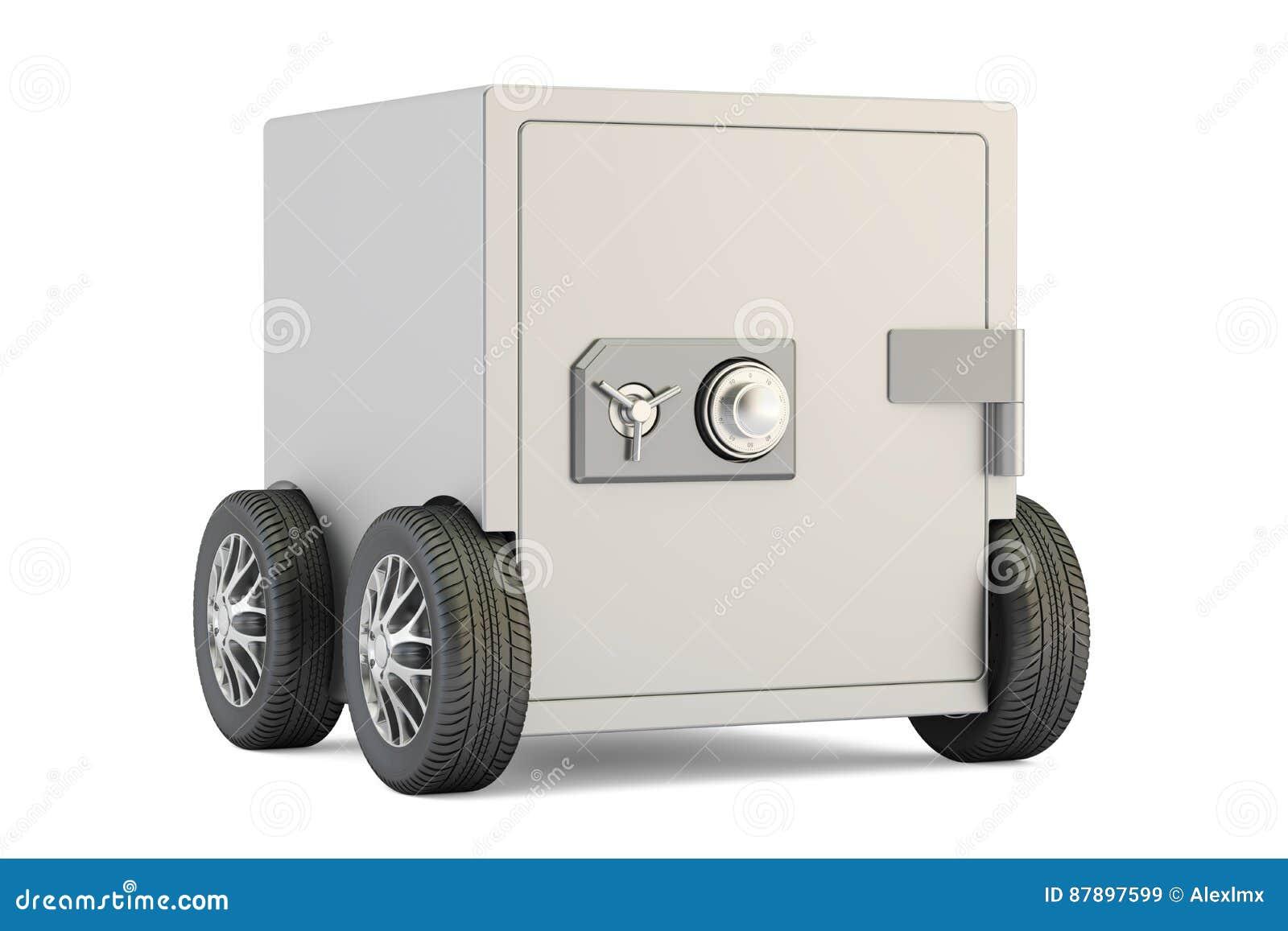 Safe Box On Car Wheels 3d Rendering Stock Illustration Image