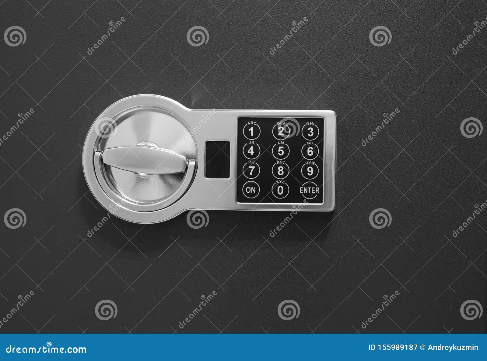 Safe box door close up with code lock