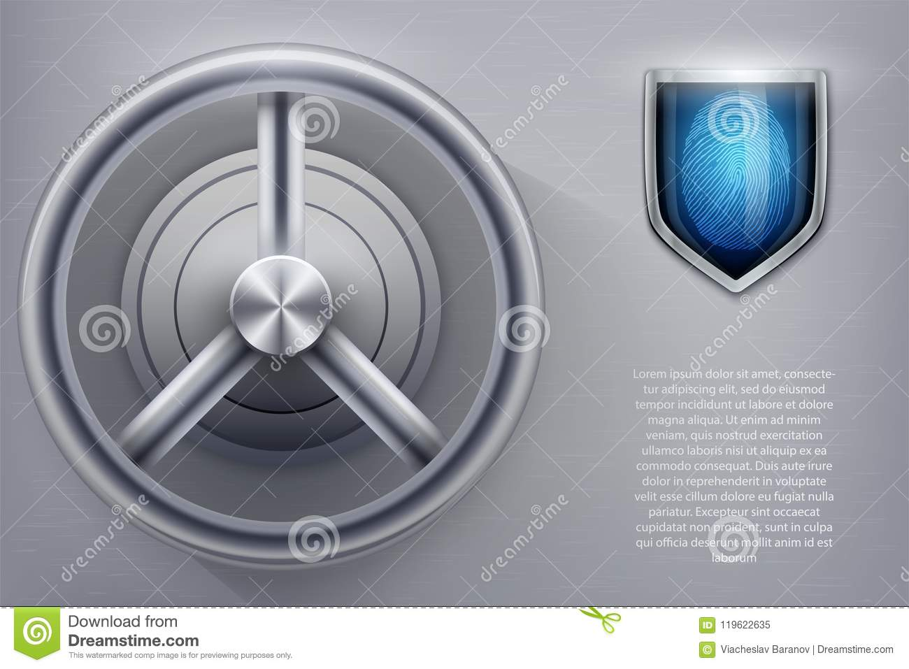 Safe with fingerprint lock stock vector  Illustration of
