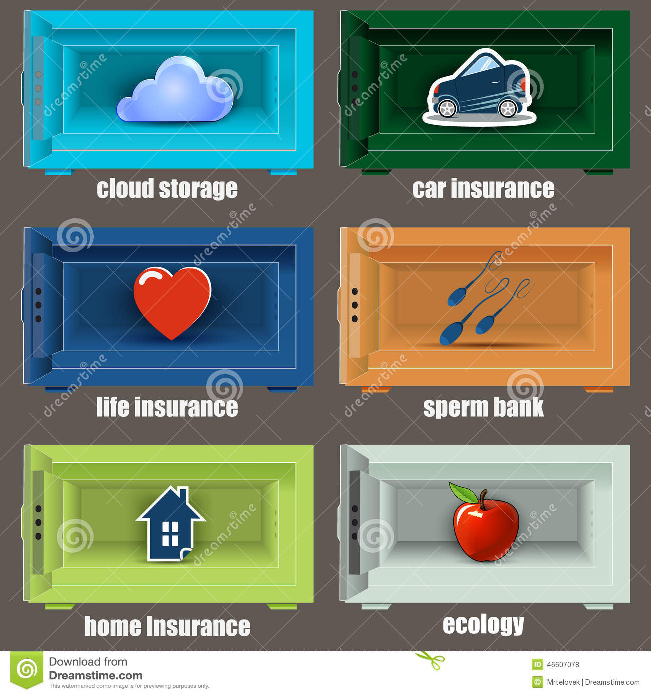 Safe Icons Can Be Used As Insurance. Stock Illustration