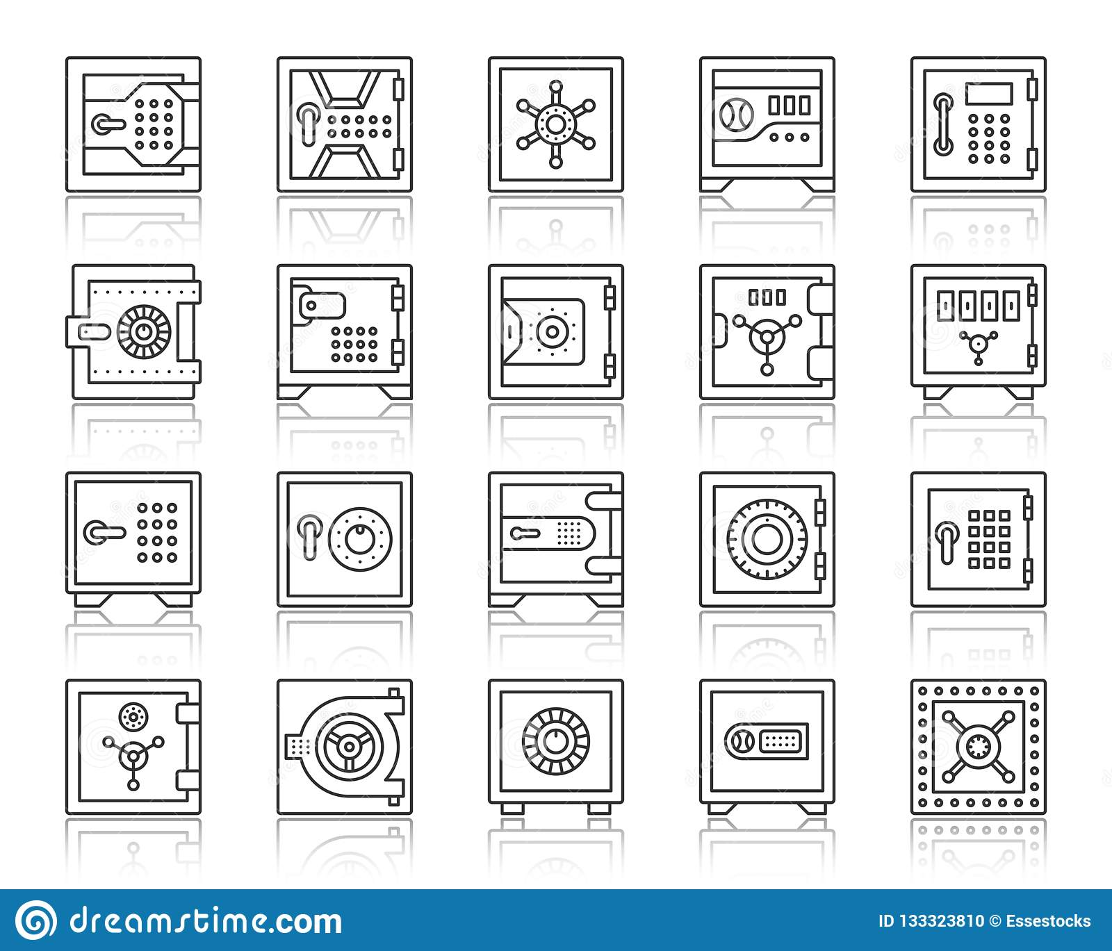 Safe Bank Cell Simple Black Line Icons Vector Set Stock