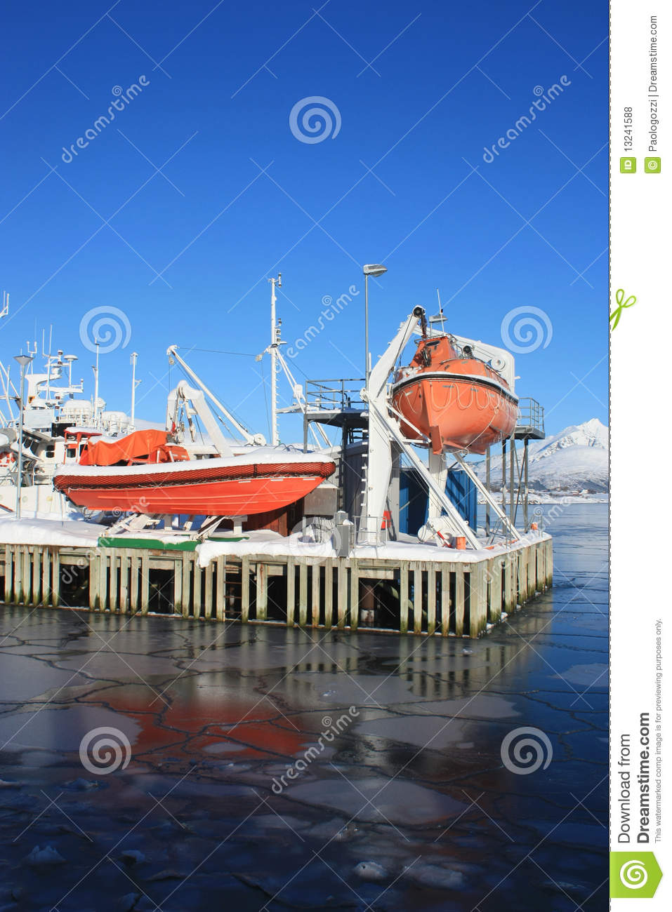 Safety boat and icy sea