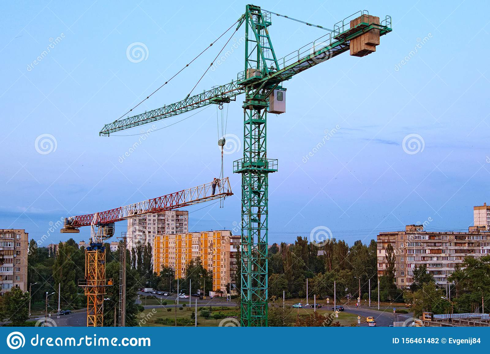 Safety Breach During The Process Of Mounting Tower Crane The Installer Disengages The Cable From The Tower Crane Stock Photo Image Of Breach Foreman 156461482