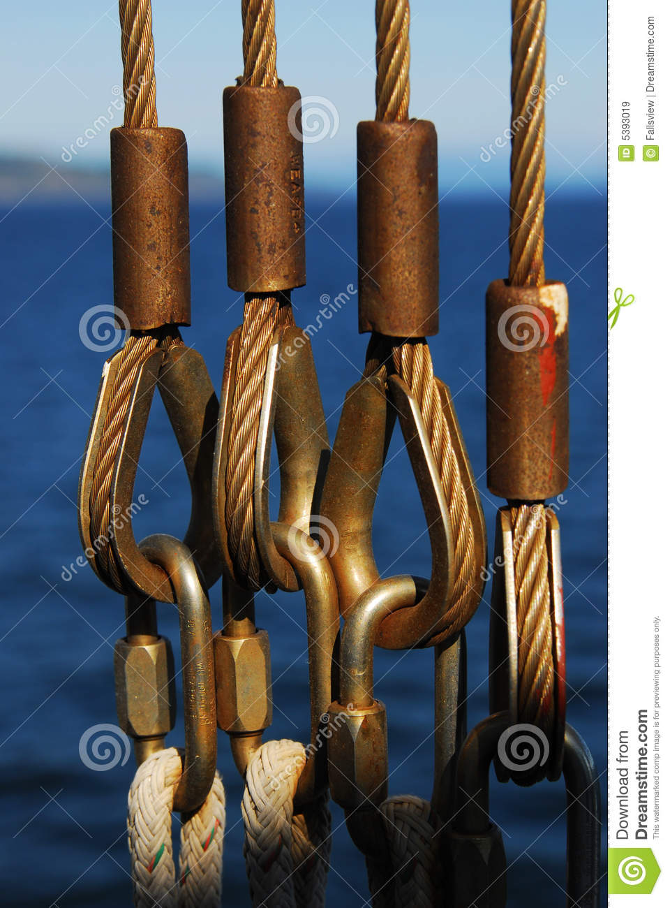 Safety cables and ropes on ferry