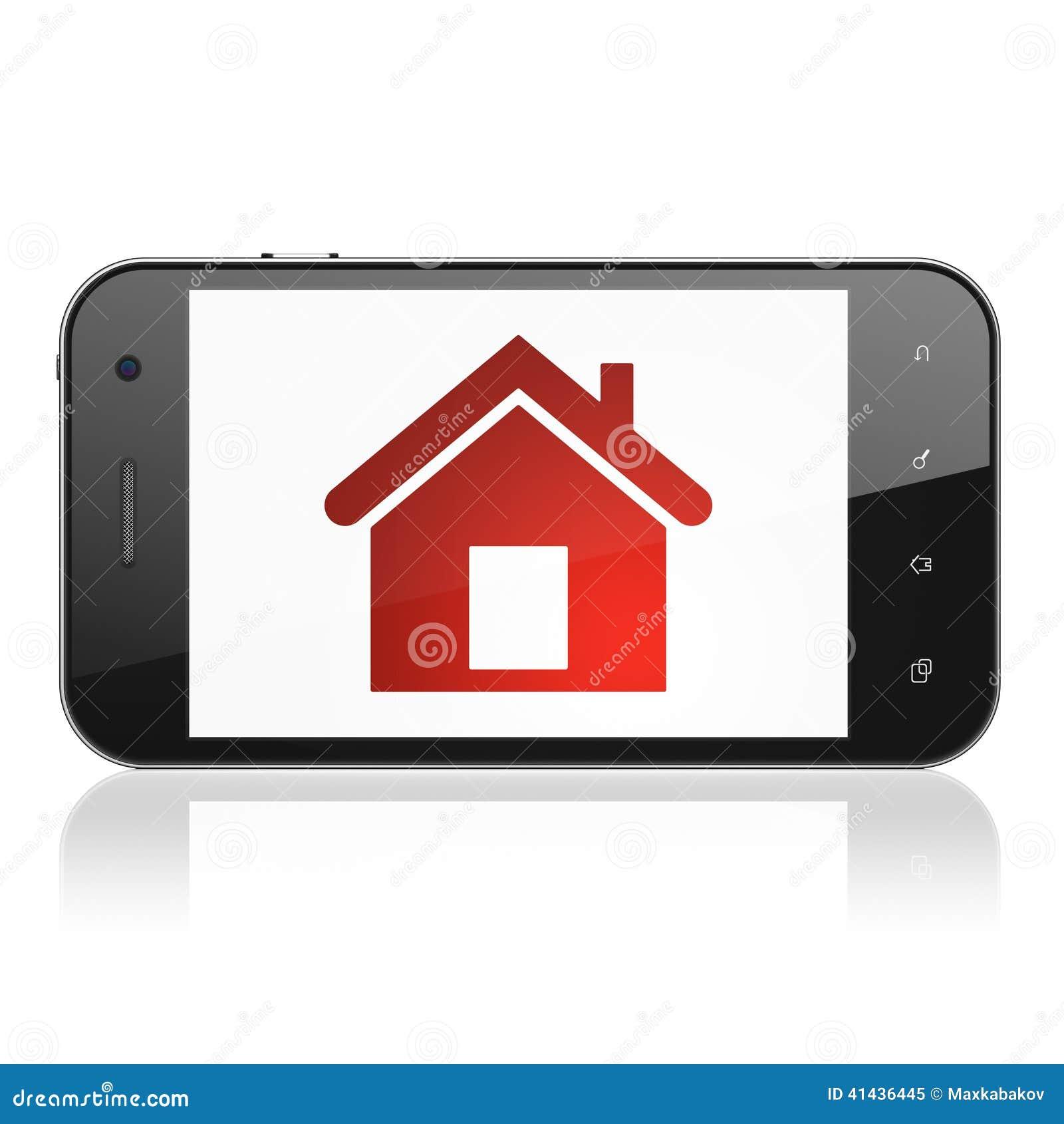 safety concept home on smartphone stock illustration illustration of denied hack 41436445. Black Bedroom Furniture Sets. Home Design Ideas