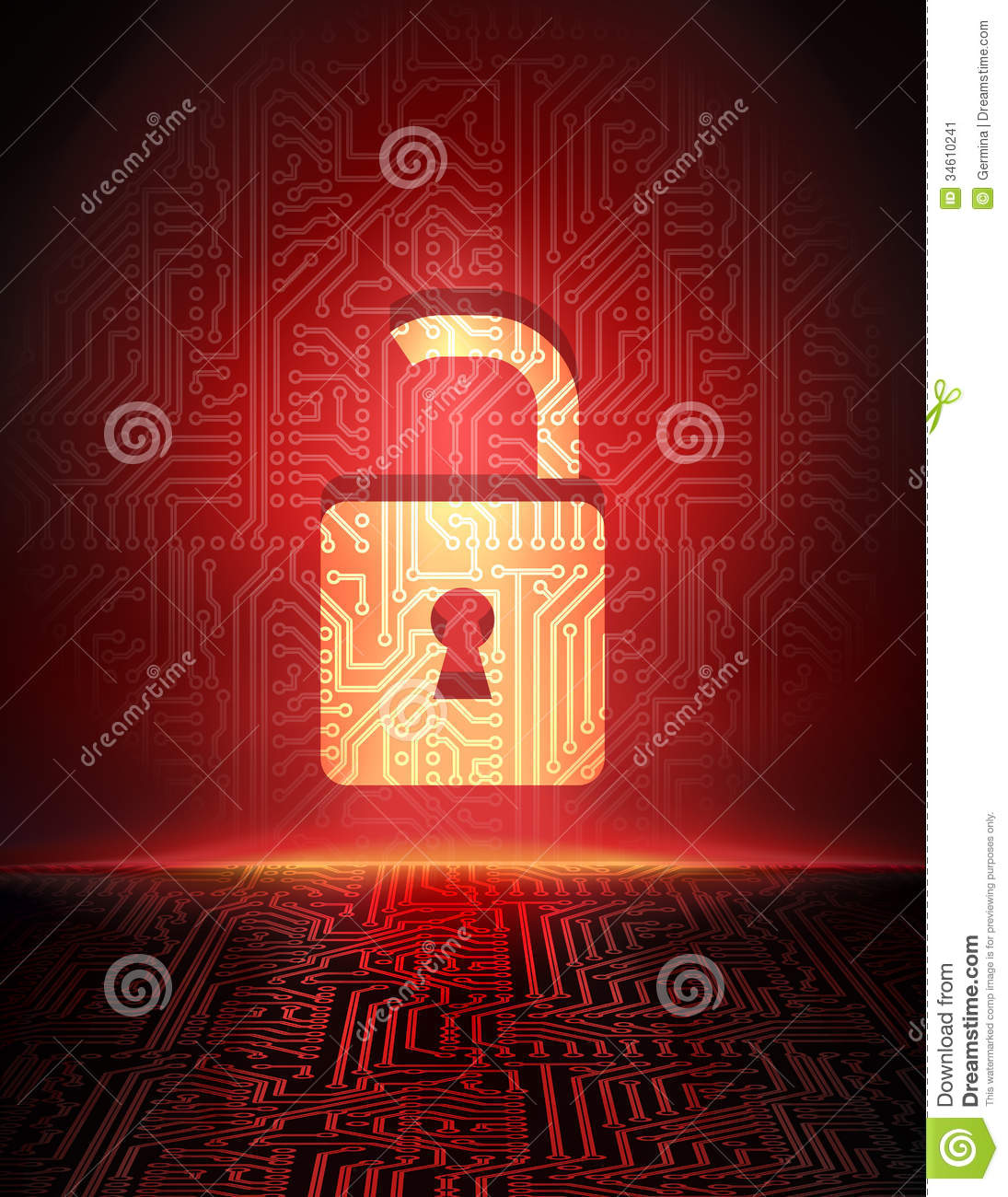 safety concept  opened padlock in cyber space  stock