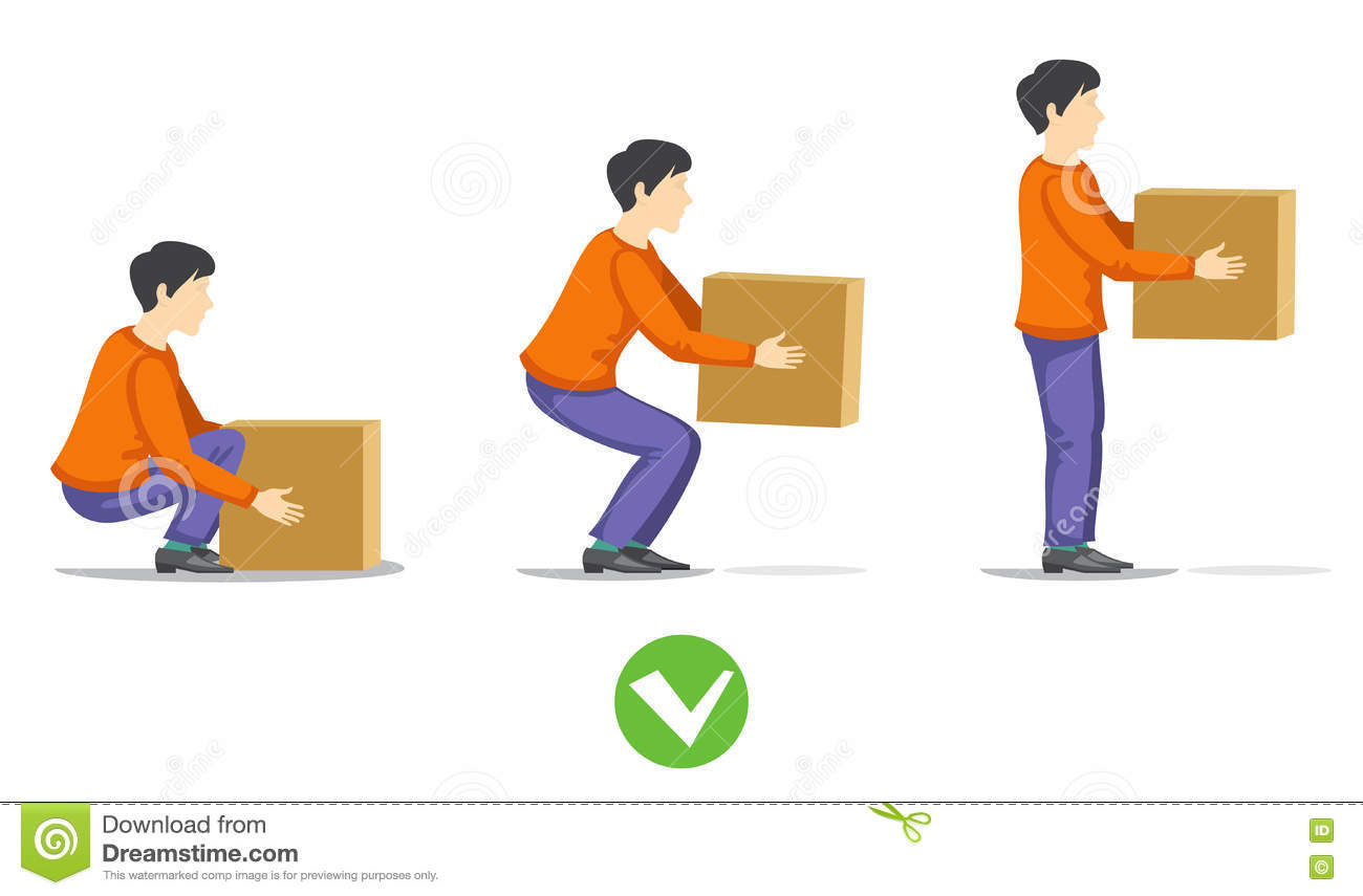 Safety Correct Lifting Of Heavy Box Vector Illustration Stock Vector