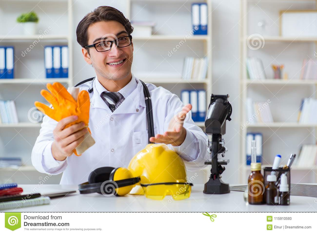 The safety doctor advising about wearing protective gloves