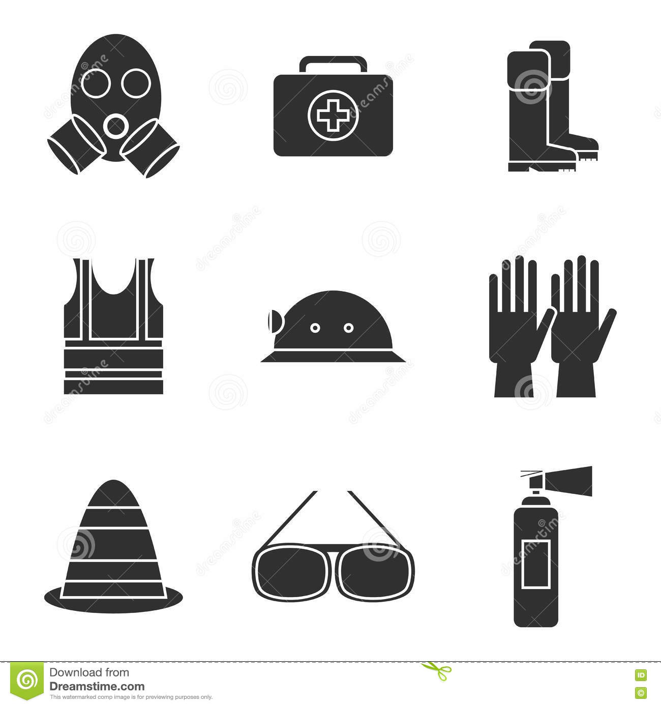Safety equipment icon set stock vector illustration of equipment safety equipment icon set buycottarizona