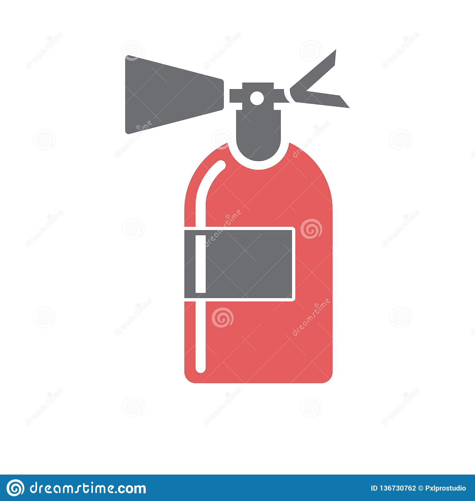 Safety Fire Extinguisher Icon On White Background For