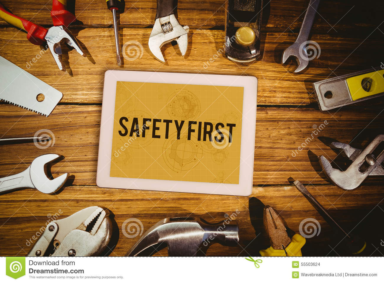 Safety First Against Architect Background Stock
