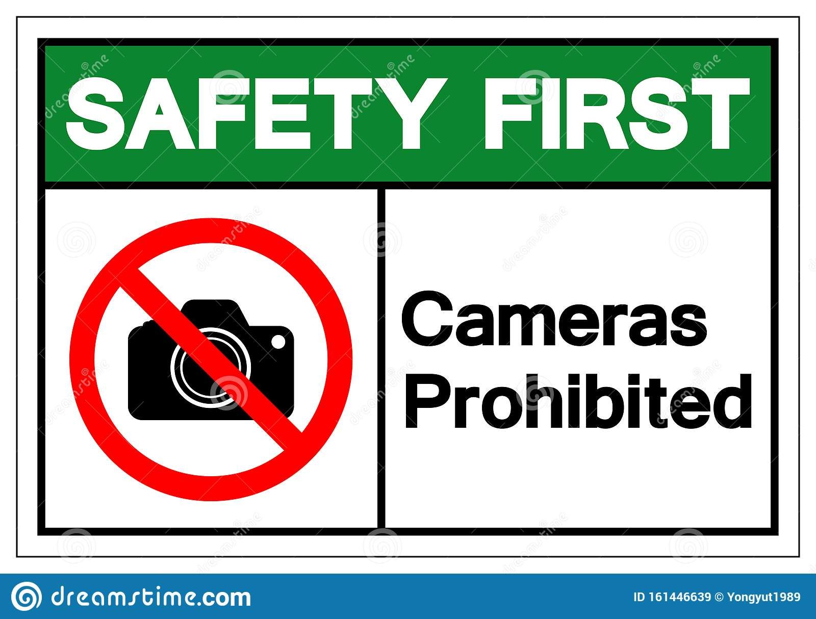 Safety First Cameras Prohibited Symbol Sign, Vector ...