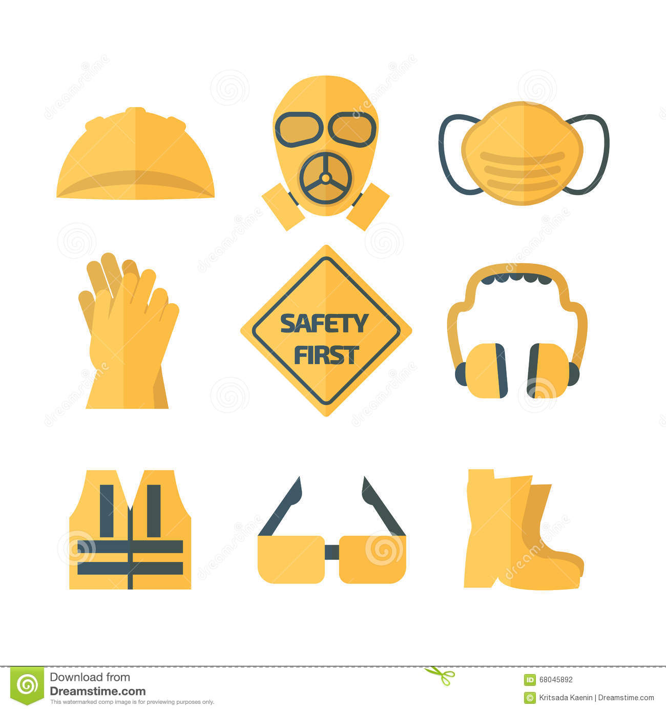Safety First Icon Set Vector Illustration Stock Photo Image Of
