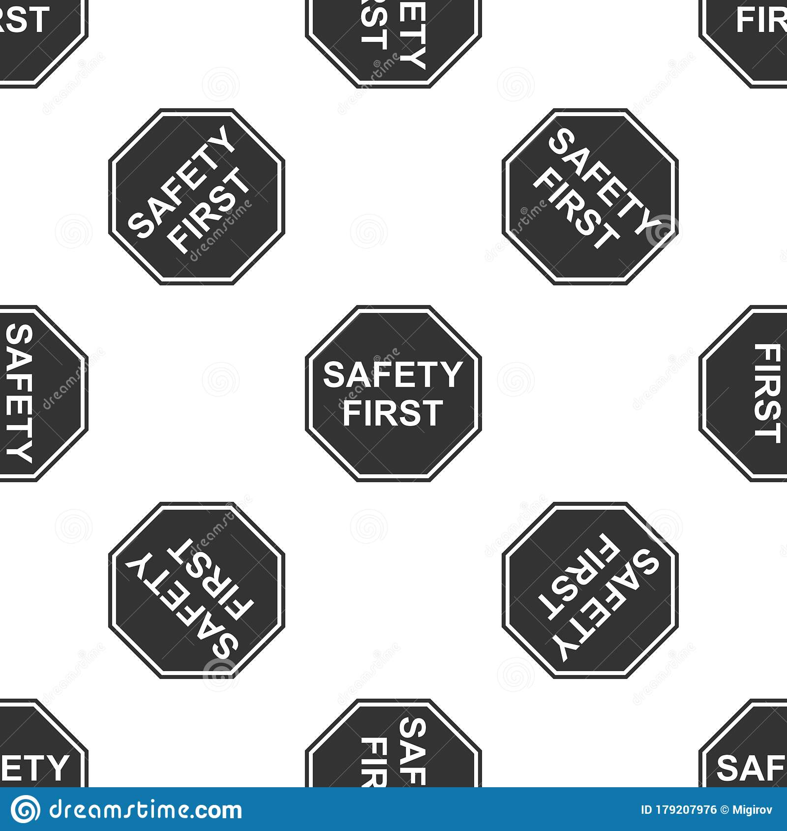 Safety First Octagonal Shape Icon Seamless Pattern On ...