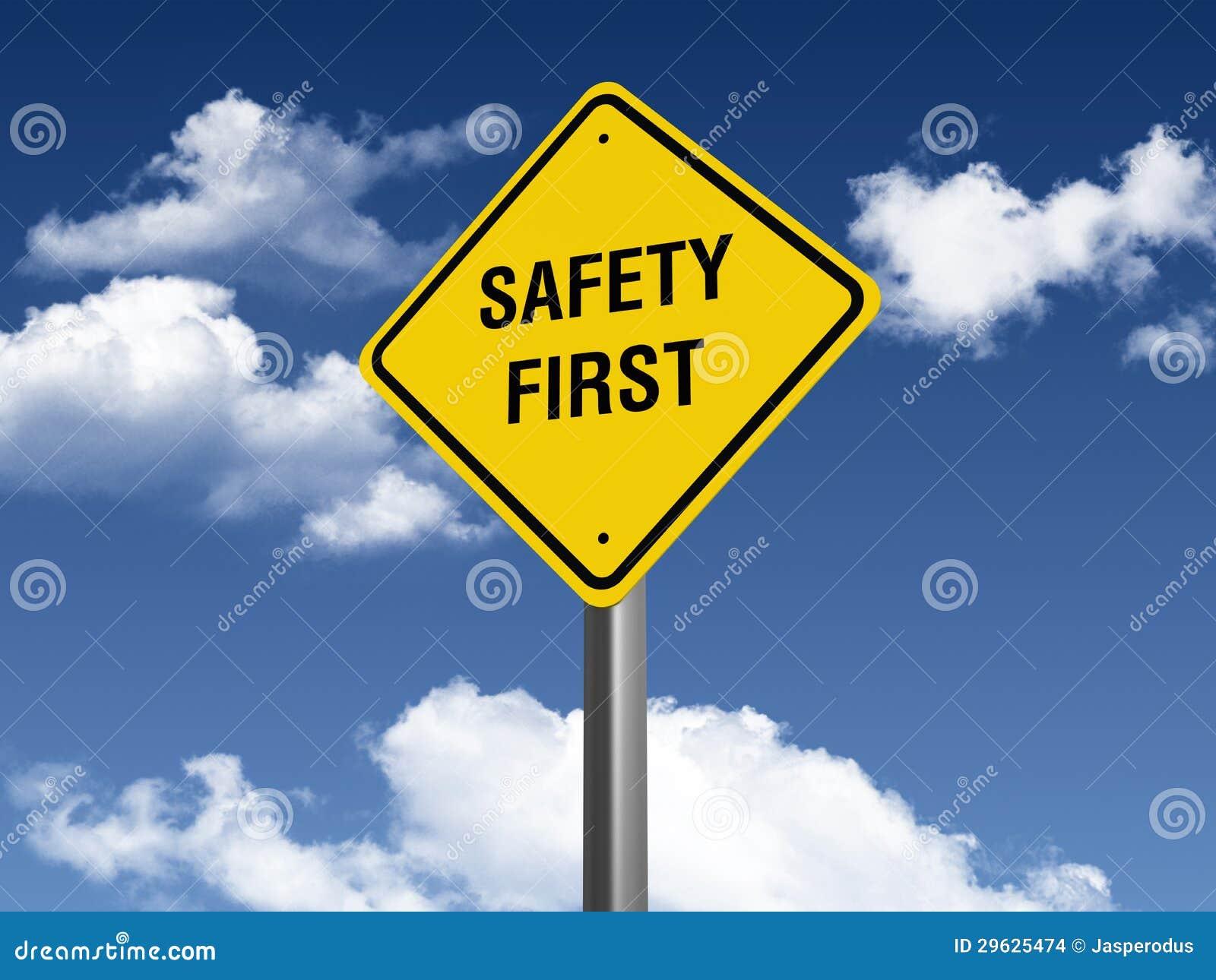 safety first road sign stock images image 29625474. Black Bedroom Furniture Sets. Home Design Ideas