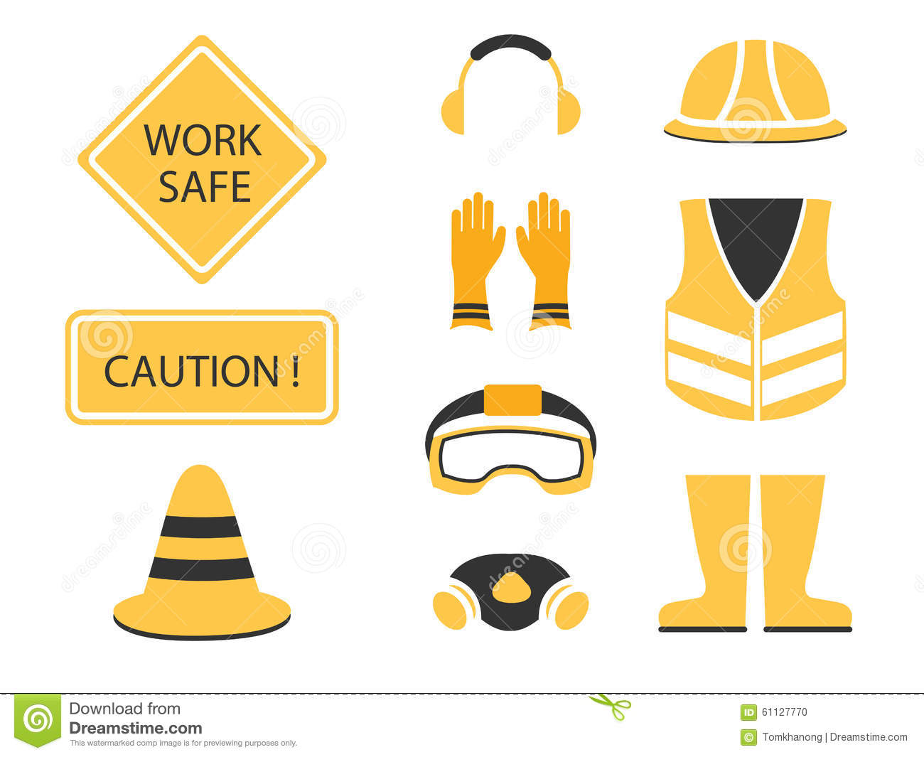 Safety First Set And Under Construction Symbol Stock Vector