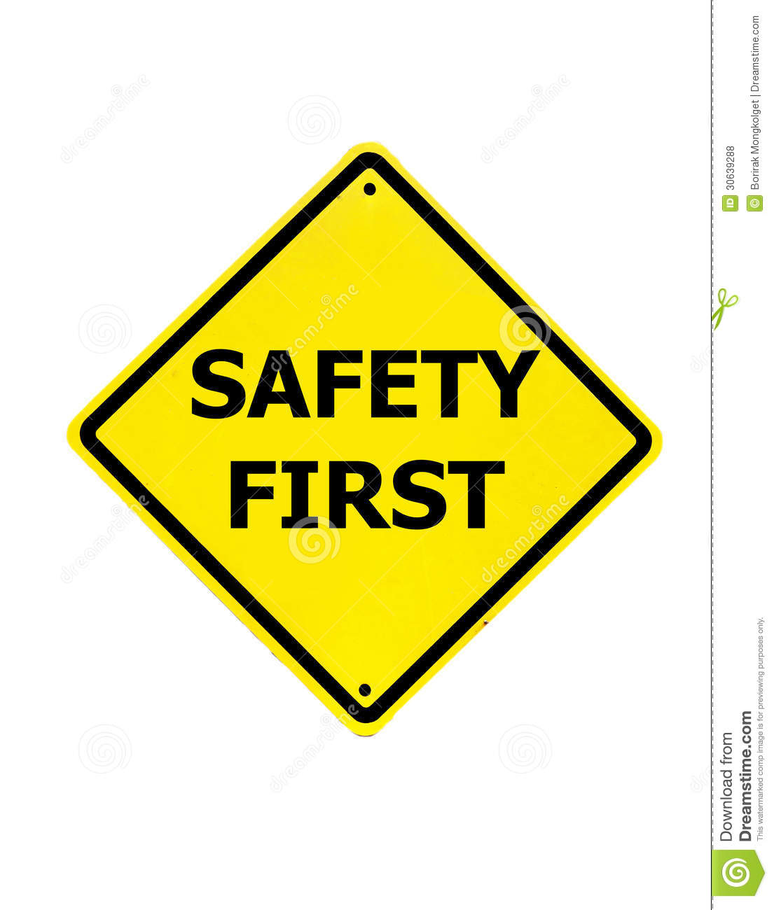 Safety First Sign On A White Royalty Free Stock Photos - Image