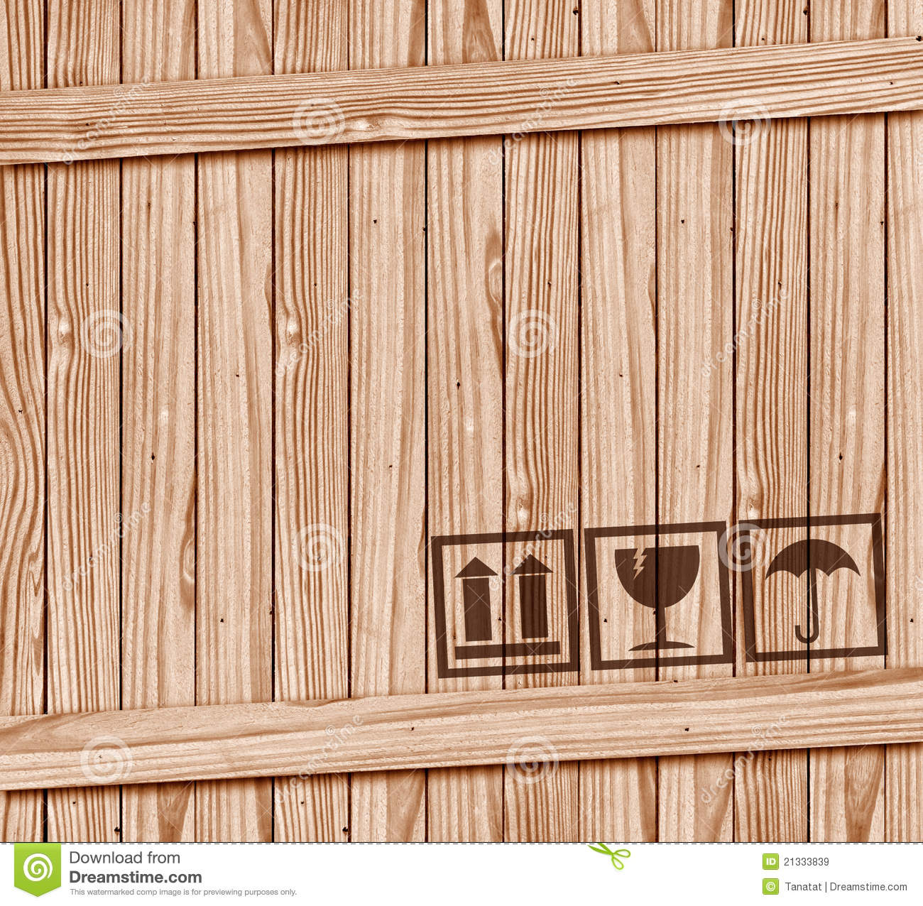 Safety fragile icon on wood box with space